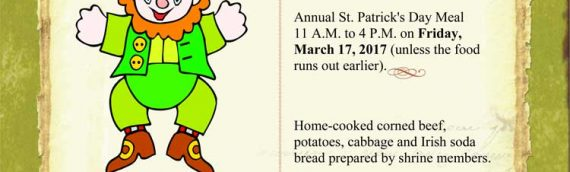 St. Patrick's Day Lunch March 17